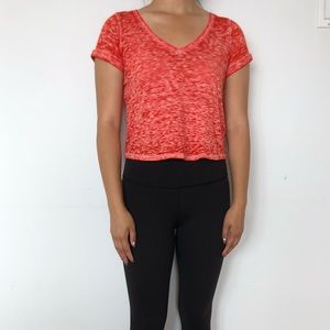 Orange Cropped V-Neck